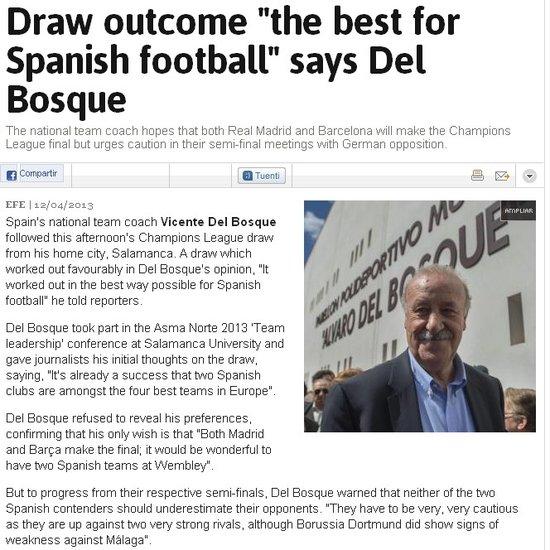 博斯克满意欧冠抽签结果 盼巴萨皇马会师决赛