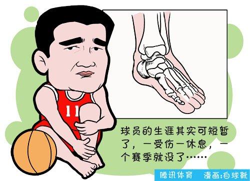 漫画:球员生涯苦短 姚明彻底告别本赛季