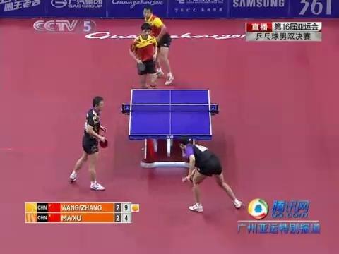 视频:马琳反拍推挡直线出台 张继科/王皓3-2领先