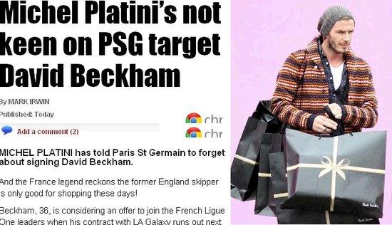 普拉蒂尼劝法甲曼城别签小贝:他已不复当年勇