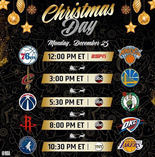 NBA新赛季圣诞大战揭幕战赛程公布 骑士勇士领衔