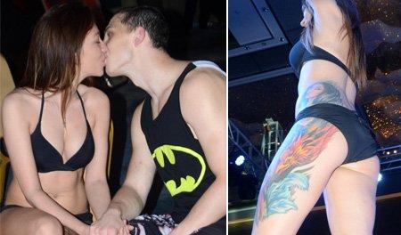 拳击宝贝秀纹身遭拍底 搭讪拳手激情热吻