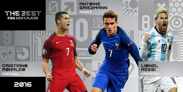 FIFA足球先生三甲:梅西C罗再战 格列兹曼入围