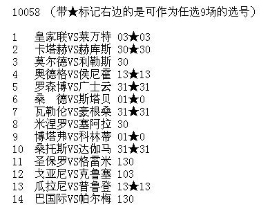 [菠菜娃娃网]军长058期胜负彩实战冷门型选号