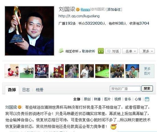 刘国梁微博力挺马琳:仍是奥运最有力竞争者