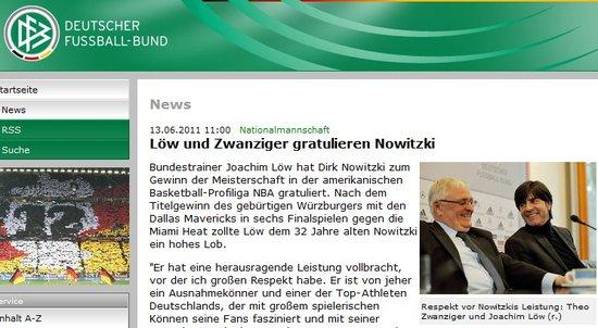 德国足协官网恭喜诺维斯基 赞德克是全德最佳