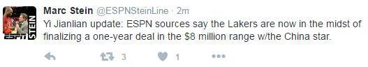 权威曝易建联湖人谈判细节 年薪800万美元左右