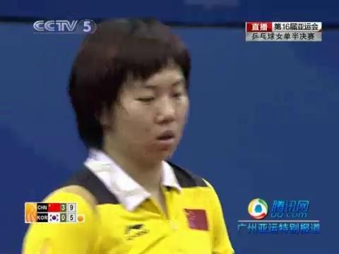 乒球女单 李晓霞完胜金景娥杀进决赛