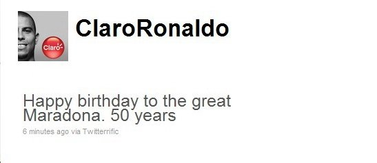 罗尼祝福马拉多纳50岁大寿 球王:最糟的生日