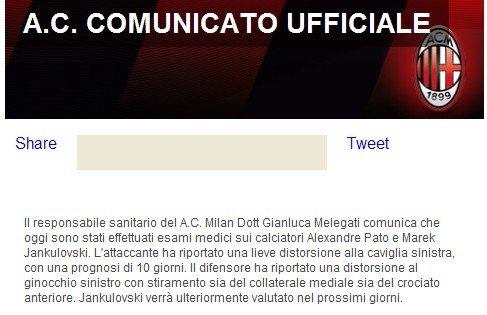 米兰宣布大将赛季报销 帕托伤10天德比战复出