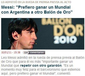 梅西:巴萨给了我一切 渴望世界杯冠军胜金球