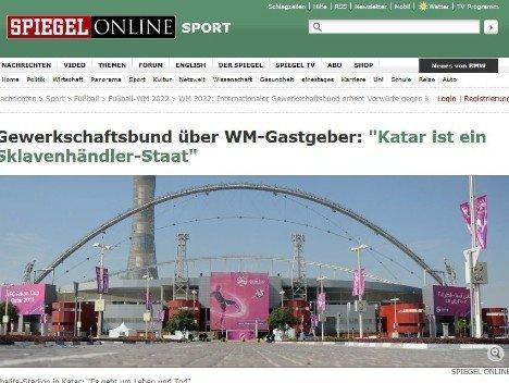 卡塔尔造球场致劳工死亡 被指如奴隶主般压榨