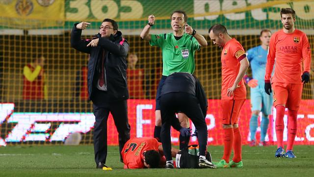 Busquets right ankle ligament injury