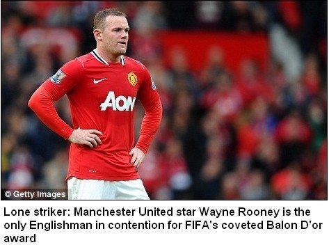 FIFA金球奖让英格兰尴尬 鲁尼竟成唯一遮羞布