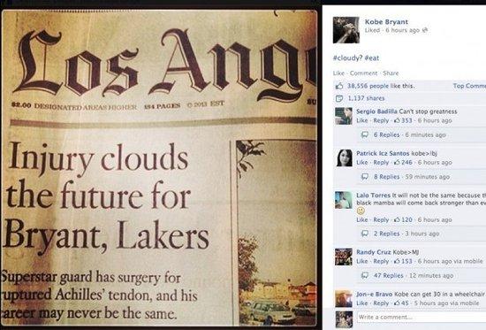 科比不满媒体看衰湖人 截下报纸标题激励自己