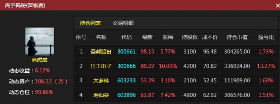 不被热点所迷惑 高手持股不动日赚6.26%