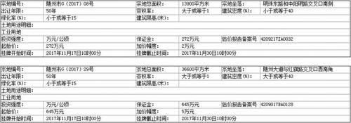 【出让】随州市国土资源局出让公告(随州市G[2017]08、29号)