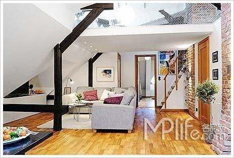 复式房子装修效果图:复式公寓-复式阁楼房装修样板 65平小面积公寓