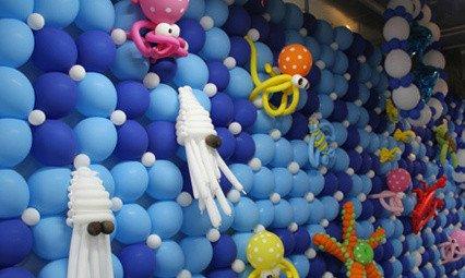 梦幻气球各种主题场景合照 美人鱼,鲨鱼,各种造型不一的海洋动物,大主