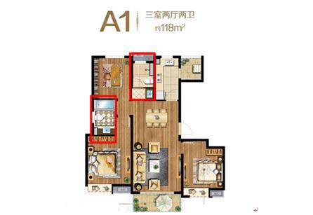 十开间2间一套8乖12米套房设计图展示图片