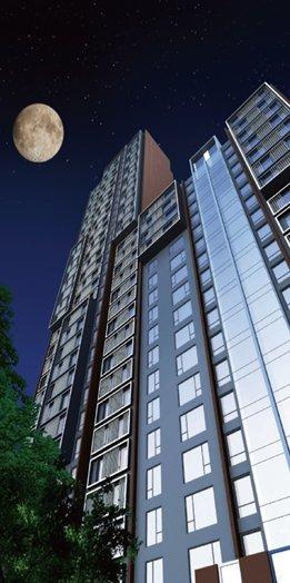 优悦城MIES风格现代建筑一角实际效果图——讲求现代科技建材的运图片