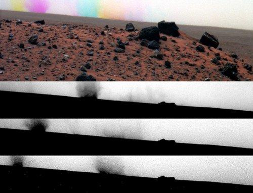 """""""勇气""""号拍到火星表面""""彩色旋风""""(图)"""