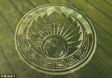 英国威尔特郡再现巨型麦田怪圈 形状极为怪异