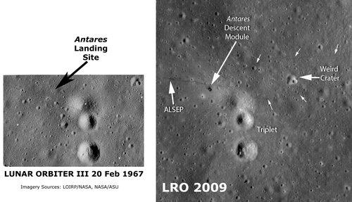 美探测器成功拍摄到人类登月留下的痕迹(图)