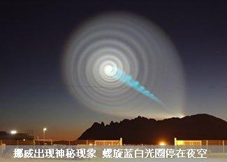 挪威夜空出现神秘蓝白光圈