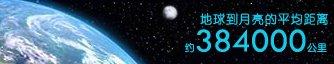 月球距离地球平均为384000公里