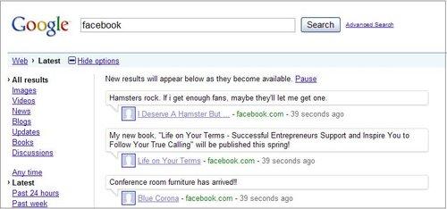 谷歌在实时搜索中新增Facebook更新内容(图)