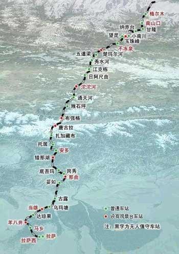 青藏铁路全线示意图(腾讯科技配图)
