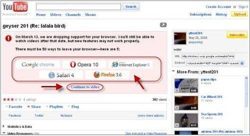 YouTube宣布从3月13日起不再支持IE 6浏览器