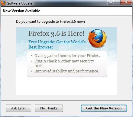 Mozilla督促老版本火狐用户向3.6版升级(图)