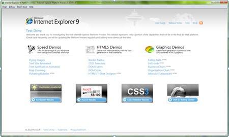 微软发布IE9开发者预览版 支持HTML5标准(图)