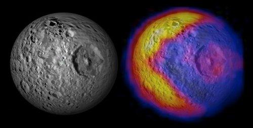 土星卫星表面温度图酷似游戏形象吃豆人(图)