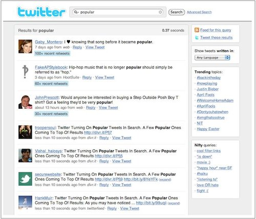 Twitter修改实时搜索算法:兼顾流行度