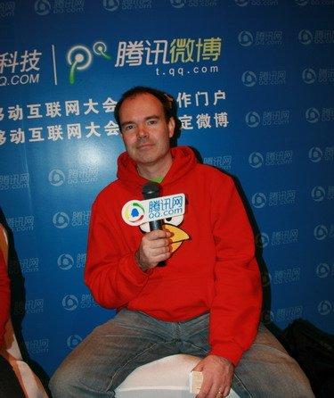 愤怒的小鸟全球市场发展总经理Peter接受腾讯科技专访(腾讯科技摄)