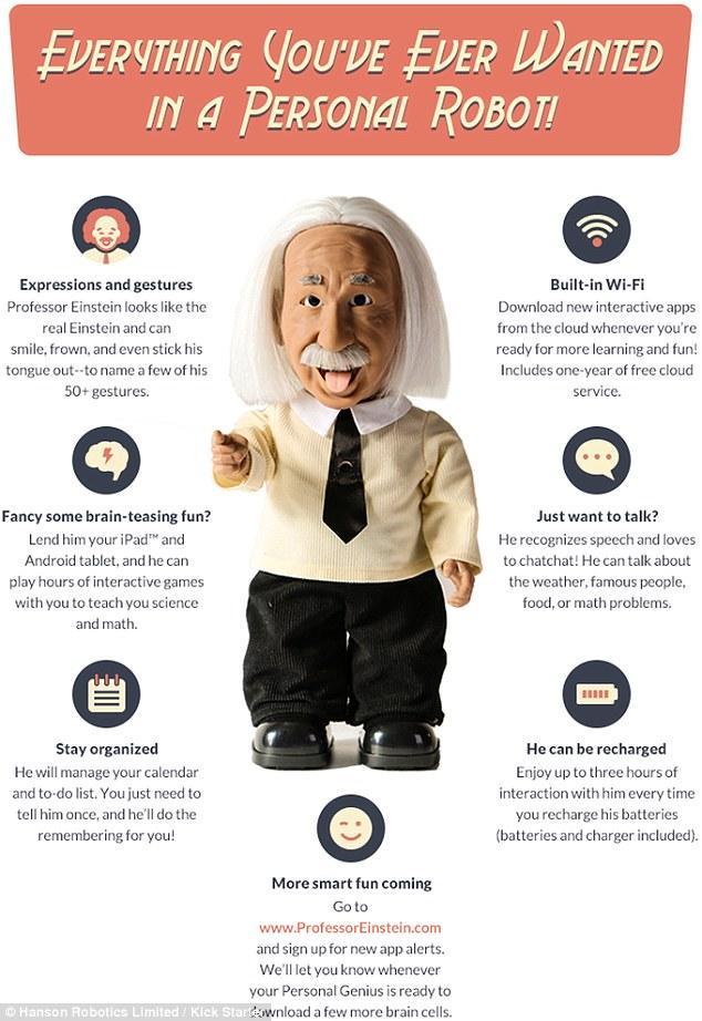 """""""爱因斯坦""""机器人诞生:会说话、走路,还会讲课"""
