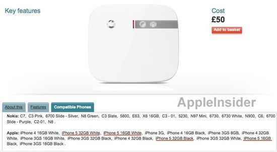 沃达丰网站显示iPhone 5容量分16G和32GB