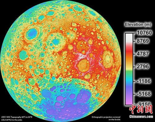 月球高程地形图