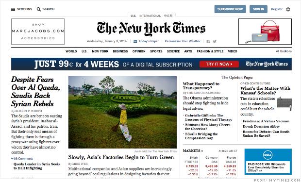 《纽约时报》网站全面改版 剑指网络出版