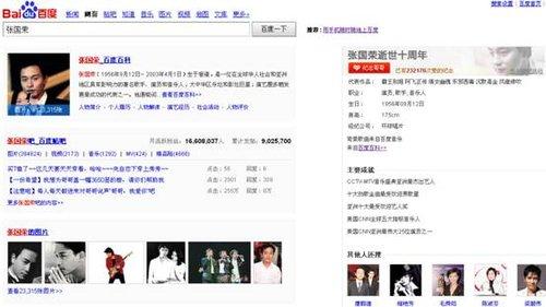 """百度搜索""""张国荣"""" 页面变黑白 用""""心""""十年祭"""