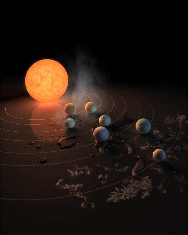 距地40光年的单颗恒星周围发现七颗类地行星