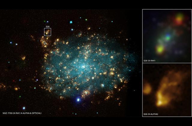 宇宙深处一颗黑洞正撕裂一颗恒星