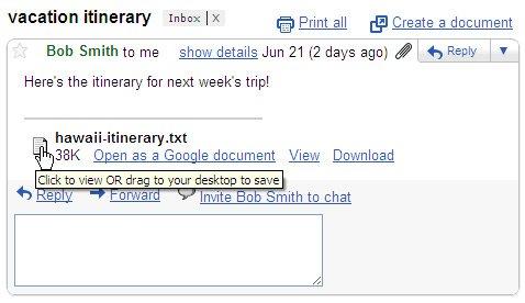 Gmail新功能:将附件直接拖放至本地