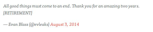 爆料大神@evleaks宣布退休:因病情逐步恶化