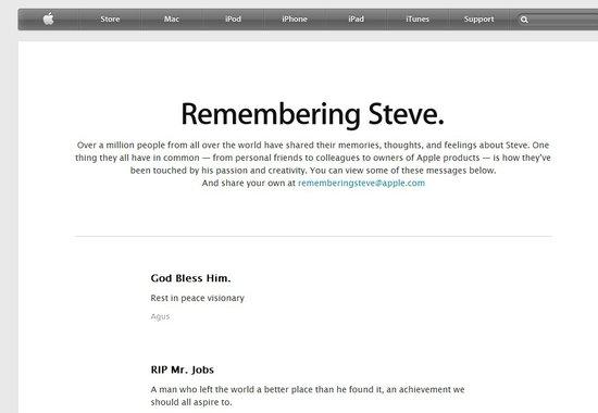 苹果发布向乔布斯致敬页面 缅怀联合创始人