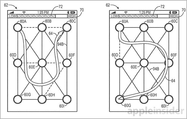 苹果申请两项移动设备手势解锁专利
