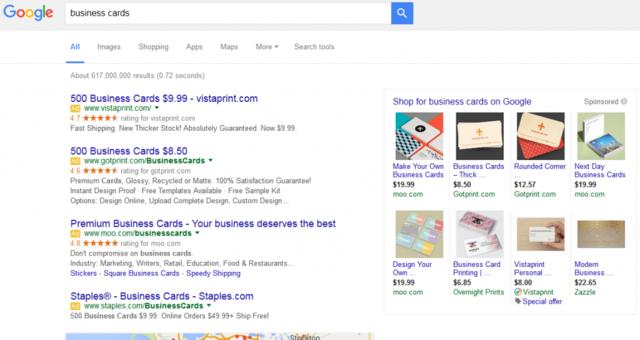 谷歌搜索广告大改版:右侧广告挪至页面顶部